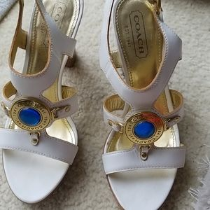 Coach  white jeweled sandels